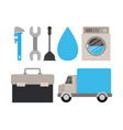 colorful set of elements maintenance plumbing vector image vector image