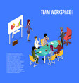 conference office workspace isometric 3d poster vector image
