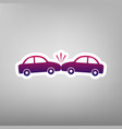 crashed cars sign purple gradient icon on vector image vector image