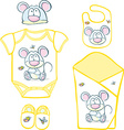 Cute Baby Layette with mouse and butterfly vector image vector image