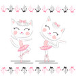 cute ballerina cat dancing ballet in pink tutu vector image