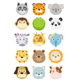 cute cartoon animals faces set vector image vector image
