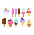 cute faces ice cream kids cartoon characters vector image