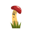 cute funny mushroom character with red cap and vector image vector image