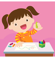 cute girl drawing vector image vector image