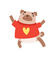 cute pug dog wearing red shirt funny friendly vector image