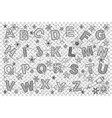 english alphabet doodle set vector image vector image