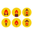 Fire illuminating devices icon set