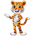 funny tiger cartoon pointing both fingers vector image vector image