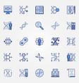 genetics blue icons set - dna concept vector image