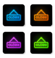glowing neon hanging sign with text close icon vector image