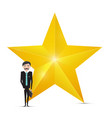 gold star icon and businessman on white vector image vector image