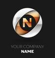 golden letter n logo symbol in the circle shape vector image