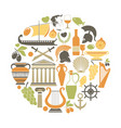 greece travel sightseeing icons and vector image vector image