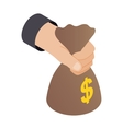 Hand holding bag 3d isometric icon vector image vector image