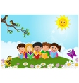 happy children lying on the ggass while reading bo vector image vector image
