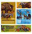 hunting animals and birds with hunter target vector image vector image