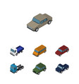 isometric automobile set of car armored lorry vector image vector image