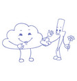 love between cloud and lightning doodle vector image vector image