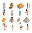 maya civilization isometric icons vector image vector image