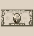 one dollar bill with george washington cartoon vector image vector image