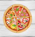 pizza slice assorted vector image vector image