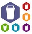 plastic flip lid bin icons set hexagon vector image vector image