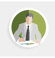 round icon silhouette successful man vector image vector image