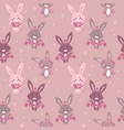 seamless pattern with cute bunny in scarf and hat vector image vector image
