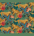 seamless pattern with jaguars tropical vector image