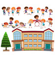set of student and school vector image vector image