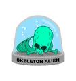 Skeleton alien in Glass Bell Bones UFO research vector image vector image