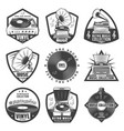vintage monochrome gramophone labels set vector image