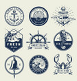 vintage monochrome nautical emblems vector image vector image