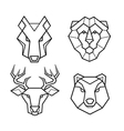 Wild animals geometric head set vector image