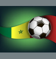 with soccer ball and flag of senegal vector image