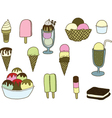 Collection of colorful tasty isolated ice cream vector image