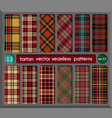 set in red tartan seamless pattern background vector image