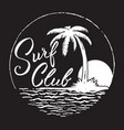 surf club inscription with palm treeocean and sun vector image