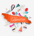 Celebration background with ribbon and party vector image