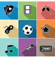 Entertainment icons set flat design vector image