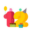 12 year greeting card birthday 12th anniversary vector image vector image