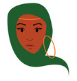 a young indian lady has covered her head with vector image vector image