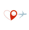 air travel plane silhouette with heart path vector image