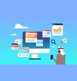 arabic businessman headphones online trading vector image