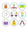 bodybuilding icons collection vector image vector image