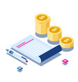 business analytics and coins stack isometric vector image vector image