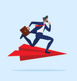 businessman run attractive on red paper plane vector image