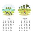 calendar 2018 july august vector image vector image