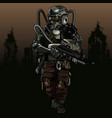 cartoon soldier of the apocalypse in a protective vector image